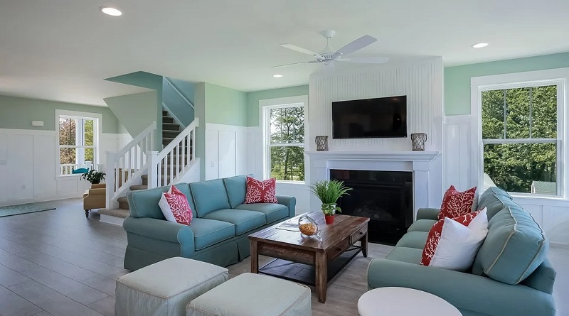 Your Family Healthy At Home Open concept living room in gray and teal