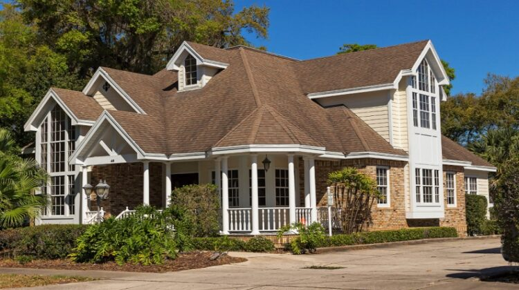 Roofing Services Home with brown roof