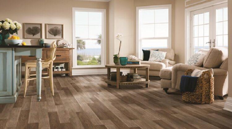 Neutral Living dining room with wood look vinyl flooring