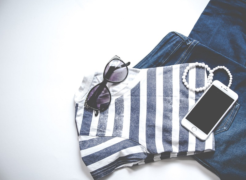 How To Give Your Confidence A Boost of Outfit Striped Shirt Jeans Sunglasses Pearls Smartphone