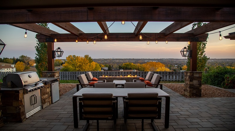 Spring Time is Pergola Time Brick patio with pergola, looking over valley in autumn