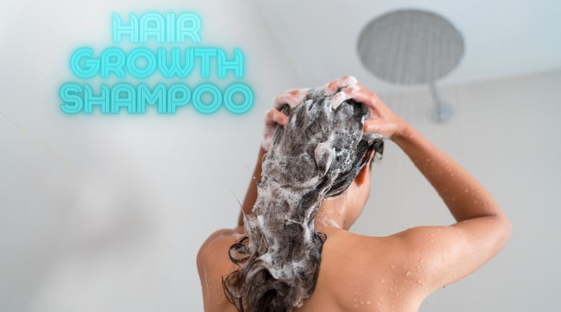 Hair Growth Shampoo Woman Washing Her Hair in Shower