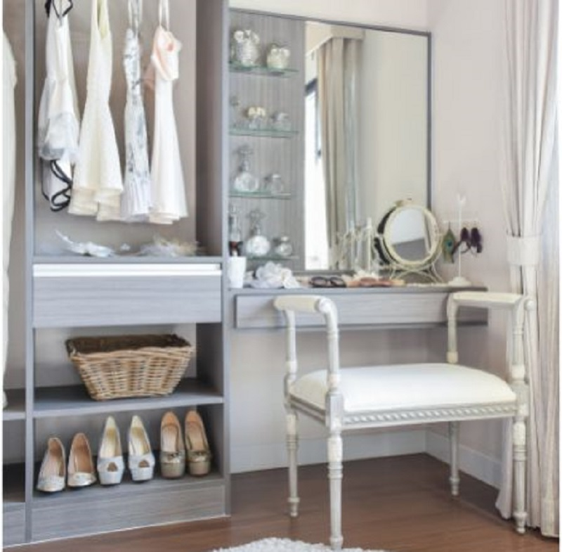 Closet with Shoe Storage and Dressing Table with Large Mirror