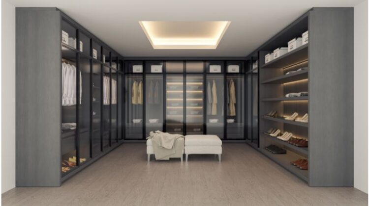 Custom Walk-In Closets and Closet Systems Large Modern Gray Walk in Closet and Dressing Room