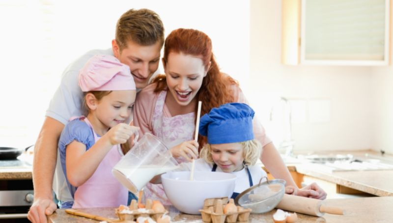 Family baking together Family fun that doesn't cost the world