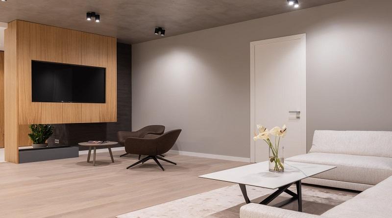 Minimal modern neutral living room