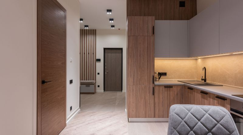 Modern apartment with many laminate doors