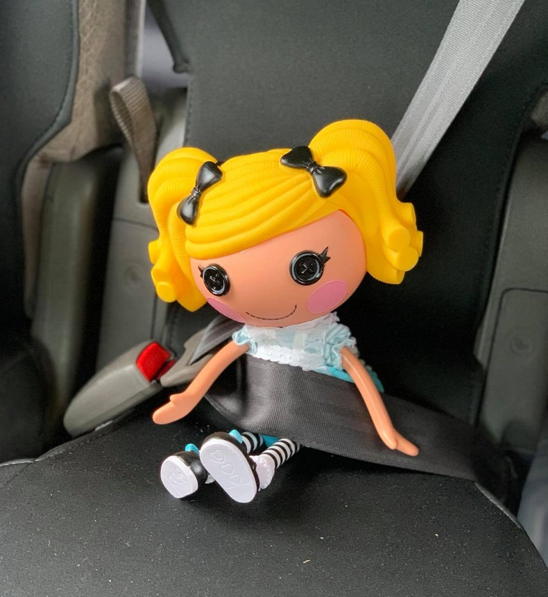 Alice Lalaloopsy safely seat belted.
