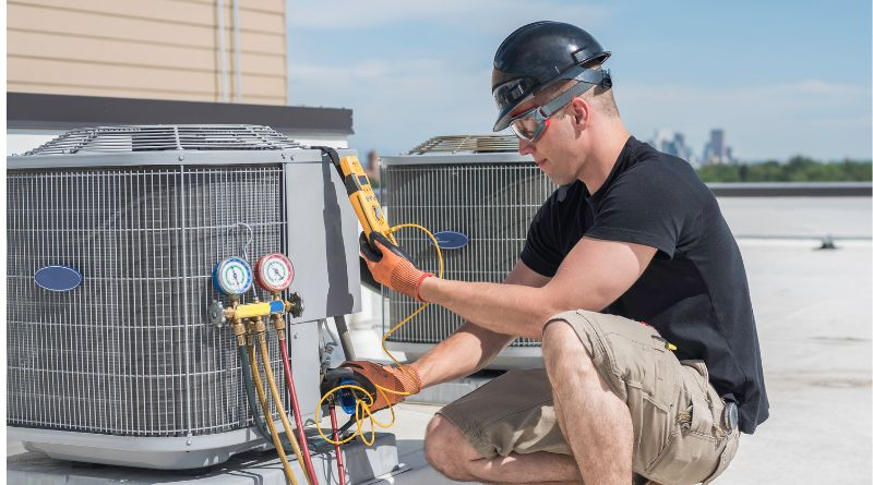 HVAC Unit being Repaired