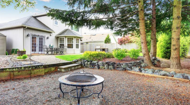 Landscapred back yard with firepit area