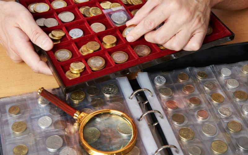 Safely Store Historic Coins Numismatist with his collection of coins