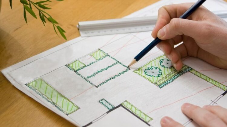 Person drawing a landscape design