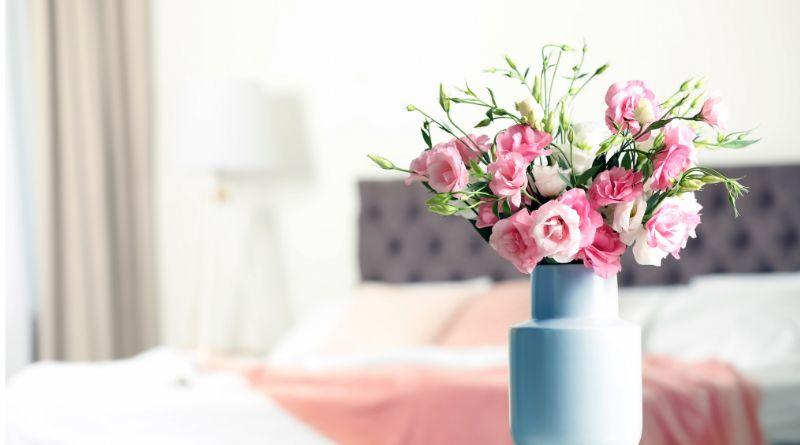 Health Benefits of Flowers in Your Home Pink Flowers in Blue Vase in Bedroom