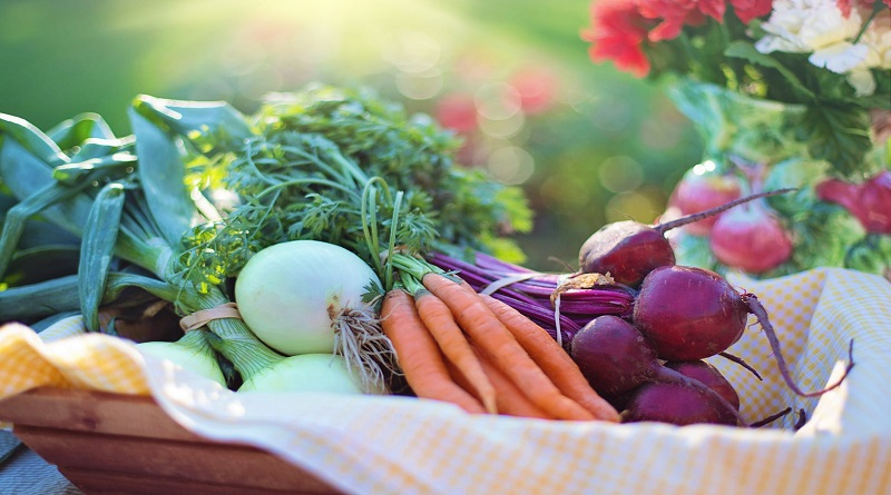 Cloth lined wooden basket filled with fresh vegetables Make A More Sustainable Life
