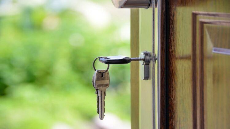 Keys in lock on front door