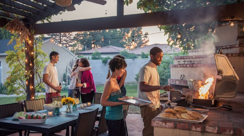 Themes for your next backyard BBQ Friends at a backyard BBQ